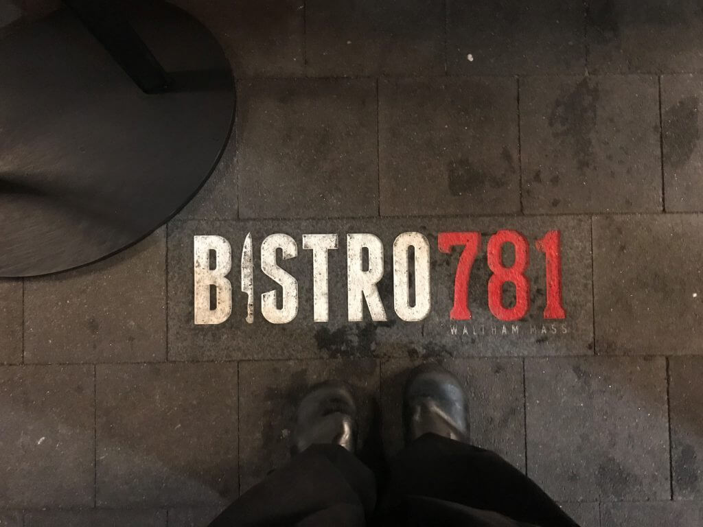 the entrance to Bistro 781 in Waltham, MA restaurant after business consulting