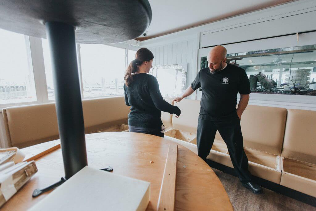 Jason Carron oversees the progress at a restaurant remodel