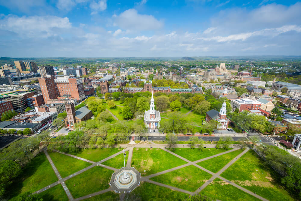 Aerial view of New Haven square