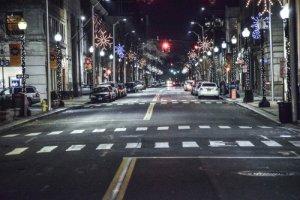 Night lights on the street in downtown Bridgeport