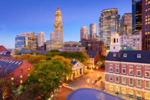 Aerial view of Boston Downtown, Quincy Market & Customs Tower