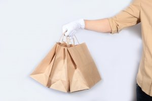 Food delivery in Brown Paper bags.