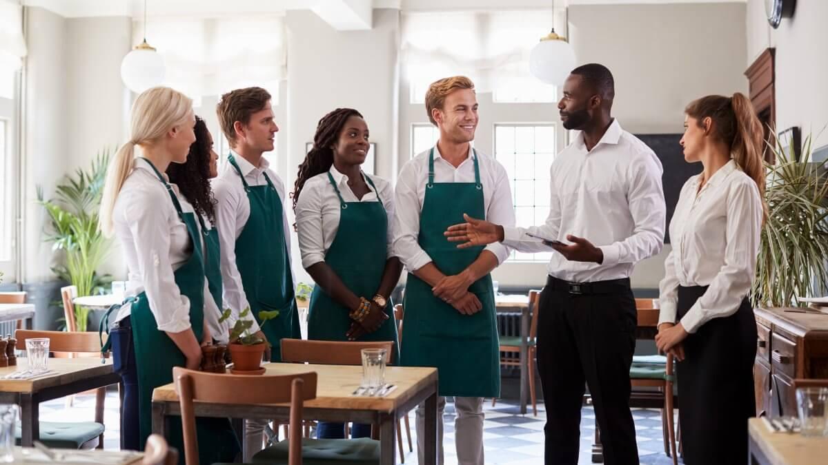 Restaurant staff grouped together