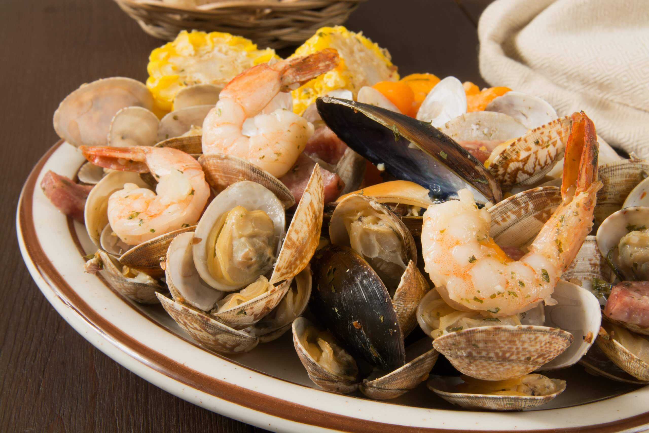 Seafood basket with shrimp clams and oysters